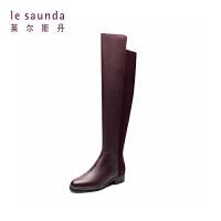 莱尔斯丹 专柜同款秋冬圆头低跟女靴长筒靴过膝靴8T43001