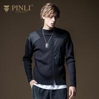 PINLI品立2020秋季新款男装百搭长袖套头毛衣针织衫男B203210033