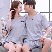 情侣睡衣女人春夏季短袖家居服休闲男士韩版可外穿短裤套装