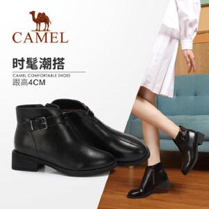 Camel/骆驼2018冬季新款 粗跟时尚优雅气质学院风短筒低跟女靴女