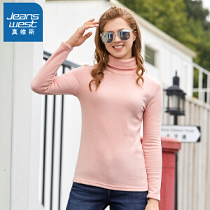 [超级大牌日每满299-150]真维斯长袖t恤女2018冬装新款女士纯色摇粒绒修身上衣高领衣服潮