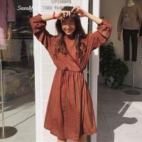 春装新款女装韩版小清新宽松显瘦格子立领拼接中长裙长袖连衣裙子 酒红色 均码