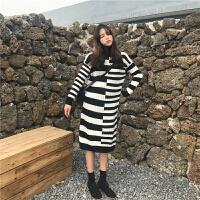 冬季新款拼色修身显瘦针织打底衫高领套头毛衣女长款连衣裙