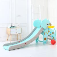 儿童家用滑滑梯室内加厚滑滑梯室内家用 儿童滑梯 多功能小型宝宝滑梯幼儿园玩具 天蓝色 音乐护栏长颈鹿
