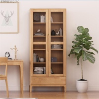 北欧纯实木书柜书房带门书柜钢化玻璃门书橱现代简约环保大书架 0.8-1米宽