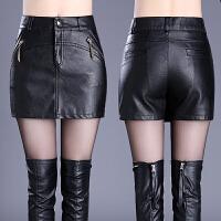 秋冬新款大码外穿皮短裤裙女黑色修身皮高腰包臀皮裙裤
