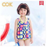 儿童游泳衣连体新款儿童泳衣女童 连体裙式中大童游泳衣公主学生 女孩泳装