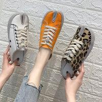 韩版豹纹分趾帆布鞋女 新款休闲系带平底鞋子女 时尚马蹄半拖鞋平底穆勒鞋