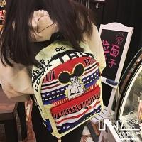 新款2018韩版原宿卡通撞色印花涂鸦男女双肩包学院风书包旅行背包 浅黄底 米老鼠