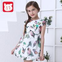 小猪班纳童装儿童公主裙2018夏装新款中大童短袖裙子女童连衣裙