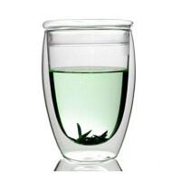 红兔子 350ML耐热双层高硼硅玻璃杯带盖透明茶杯大号双层杯带盖玻璃杯子隔热花茶水杯子蛋形咖啡杯