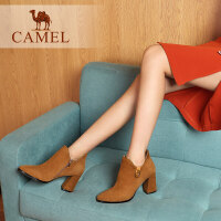 camel骆驼女鞋2018冬季新款短靴 时尚休闲韩版百搭靴子女中跟短筒女靴