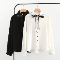 胖MM衬衫女长袖白衬衣宽松双层领韩版春装大码系带学生雪纺上衣