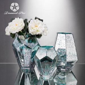 钻石星金色玻璃花瓶现代电镀假花干花插花器客厅家居摆件装饰