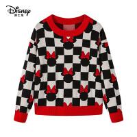 【抢购价:66.5元】迪士尼童装儿童格子针织衫毛衣