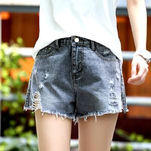 Freefeel 2018夏季新款牛仔短裤女装破洞毛边弹力松紧腰牛仔裤A1912