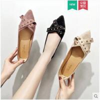 尖头单鞋女平底春季新款韩版网红瓢鞋毛毛鞋懒人豆豆鞋女鞋潮