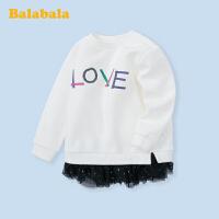 巴拉巴拉宝宝打底衫小童女童上衣春季2020新款加绒儿童长袖T恤厚