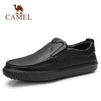 camel骆驼男鞋 秋季新品商务中青年休闲套脚牛皮鞋工作柔软乐福鞋