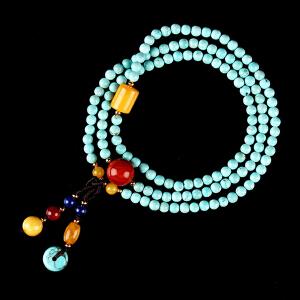 原矿高瓷绿松石圆珠DIY手串 配蜜蜡桶珠 重量13.9g