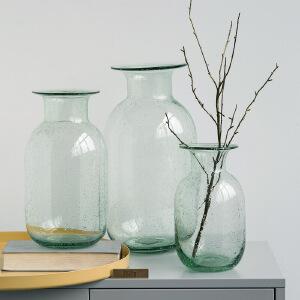 【每满100减50】幸阁 插花美式雅致新绿气泡玻璃花瓶 彩色花瓶手工花插