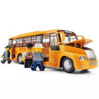 儿童大号校车巴士彩珀校巴玩具车合金车模回力仿真汽车模型金属