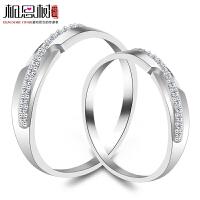 相思树情侣戒指 925纯银男女对戒 日韩版学生刻字镶钻一对配饰品