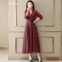 蕾丝连衣裙中长款2018夏季新款韩版修身显瘦收腰裙子气质淑女长裙 红黑色