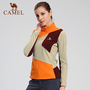 camel骆驼户外抓绒衣 女款半开胸保暖抓绒衣