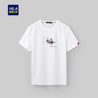 HLA/海澜之家帆船印花短袖T恤2019夏季新品舒适圆领短T男