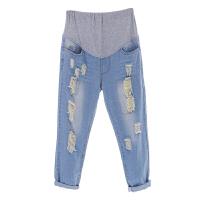 孕妇牛仔裤春夏薄款宽松九分裤时尚破洞外穿托腹裤子孕妇装孕妇裤 水洗蓝