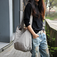 新款日韩版新款日系女士手提包单肩包斜跨包休闲简约风女包帆布大包袋 浅灰色