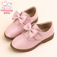 富罗迷女童皮鞋儿童鞋2017秋季新款蝴蝶结公主真皮单鞋韩版童鞋女