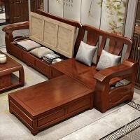 实木沙发冬夏两用组合新中式现代转角贵妃储物沙发橡胶木客厅家具 三人位+贵妃 2.1米 组合