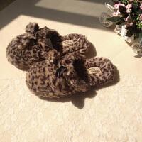 20190814075153962出口美国原单长毛绒豹纹棉拖鞋可爱居家地板室内拖鞋女家用
