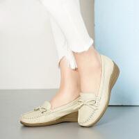 【�M299�p100 到手�r:219】camel��女鞋秋夏款平底�涡�休�e小皮鞋牛皮�犯P�坡跟中跟奶奶鞋