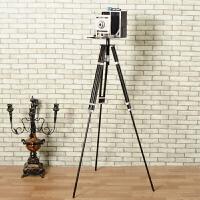 20190814142916142欧式复古铁艺做旧仿真落地三脚架照相机模型摆件摄影道具家居装饰