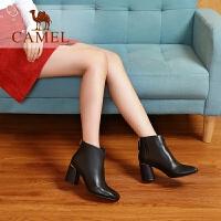 camel骆驼女鞋冬季新款短靴 秋季时尚休闲韩版百搭靴子粗跟女靴