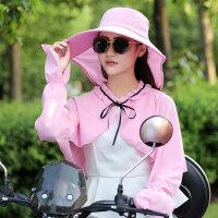女士可折叠大檐遮阳帽 户外骑车帽子披肩女遮脸防晒采茶帽 纯色大檐帽子