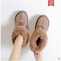 韩版新款加绒女面包鞋平底短筒女毛毛雪地靴棉鞋百搭学生女鞋