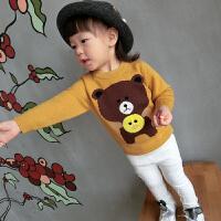 宝宝毛衣 秋装卡通圆领1-3岁儿童打底毛线衫可爱秋季新款女童装 黄色