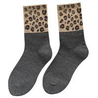 时尚豹纹袜子女秋冬款中筒袜韩国堆堆袜个性百搭长筒袜潮欧美保暖高筒