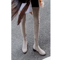 过膝长靴女5050定制高筒靴冬季中跟长筒靴绑带弹力靴加绒女长靴子
