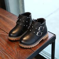 2017季新款靴子4男童马丁靴潮5英伦风宝宝短靴1-3岁棉皮鞋 黑色 21