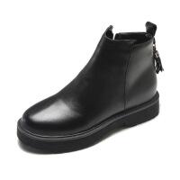 流苏平底靴子女2018秋冬季韩版学生百搭厚底短筒单靴女黑色马丁靴