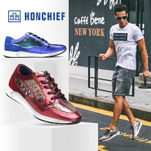 HONCHIEF 红蜻蜓旗下 春秋新款运动休闲鞋潮鞋厚底低帮系带男单鞋
