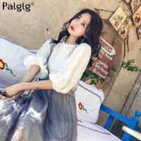 春夏季韩版新款蕾丝上衣女长袖蕾丝衫女+连衣裙子女背带裙半身网纱长裙子连衣裙女时尚套装两件套