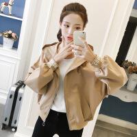 外套女装短款2018秋季新款韩版宽松蝙蝠衫夹克学生棒球服上衣服女