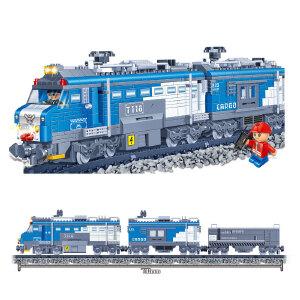 【当当自营】邦宝小颗粒拼插积木益智玩具儿童礼物遥控运输货运火车8228