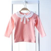秋装新款女童打底衫春秋婴儿长袖春装秋款纯棉T恤宝宝娃娃领
